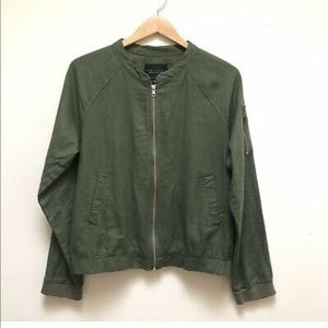 Sanctuary Green Linen Bomber Jacket size small